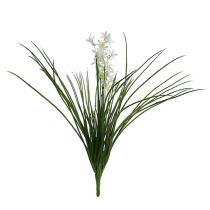 Grass bush with flowers green, white 3pcs