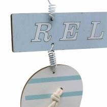 Flip-flops to hang wood light blue 23 × 14cm 6pcs