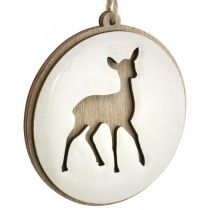 Pendant with deer, decoration medallion, wood decoration, Advent Ø9.5cm 6pcs