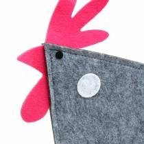 Decorative rooster made of felt with dots gray, white, pink 30cm x 5cm H31.5cm Easter decoration, shop window