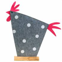 Decorative rooster made of felt with dots gray, white, pink 57cm x 7cm H58.5cm shop window decoration