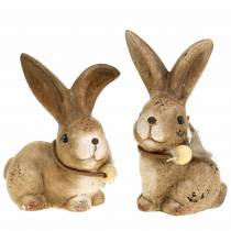 Decorative figures rabbits with feather and wooden bead brown assorted 7cm x 4.9cm H 10cm 2pcs