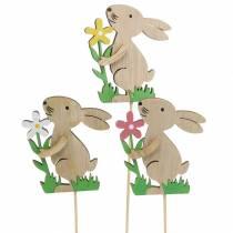 Flower plug bunny made of wood 9cm 12pcs