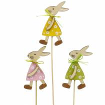 Wooden bunny on a stick green, yellow, pink 8cm 12 pieces