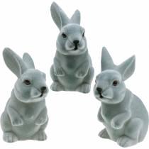 Easter bunny sitting upright, decoration figure bunny flocked, Easter decoration 3pcs