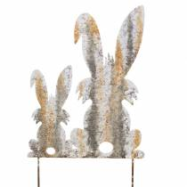 Easter decoration bunny with child to stick rust birch look metal 25 × 32cm