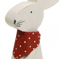 Bunny girl, spring decoration, wooden bunny with a bucket, Easter bunny