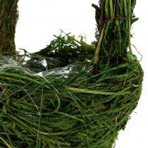 Handle basket moss Ø18cm H27cm green