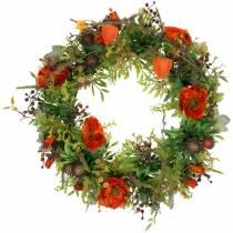 Autumn wreath poppy seeds, physalis orange Ø36cm