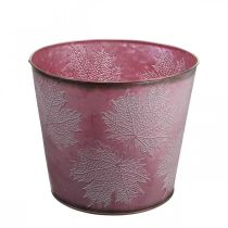 Autumn pot, plant bucket, metal decoration with leaves wine red Ø25.5cm H22cm