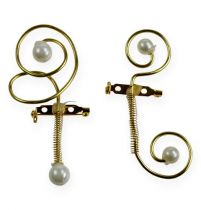 Wedding pins with pearls, gold 8cm 24pcs