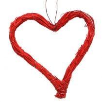 Bast hearts to hang red 10cm 12pcs