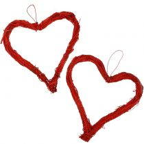 Bast heart to hang red 15cm 8pcs