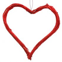 Bast heart to hang red 20cm 6pcs