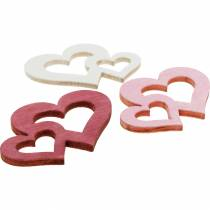 Wooden hearts, giveaways for table decorations, Valentine's Day, wedding decorations, double heart 72pcs