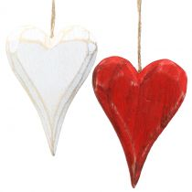 Wooden hearts to hang red, white 11.5cm 4pcs