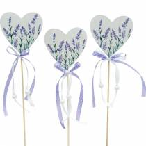 Lavender heart, summer decoration, heart to stick with lavender, Mediterranean heart decoration 6pcs