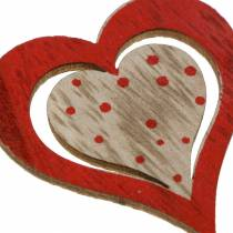 Heart red, white, natural assorted wood 4.5x4.5cm 24pcs