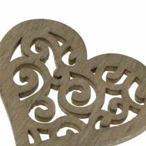 Table decoration heart wood white, cream, brown 4cm 72p