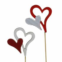 Wooden heart studs red, white 38cm 12pcs
