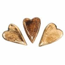 Mango wood hearts glazed natural 6.2–6.6cm × 4.2–4.7cm 16pcs