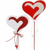 Heart on the stick red, white Dekoherz Dekostecker Valentine's Day 16pcs