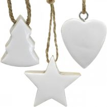 Christmas tree decorations wood mix heart star fir tree white, nature 5cm 27p