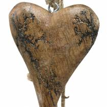 Wooden hearts with glitter inlays on a strand to hang natural L60cm