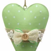 Heart hanger metal lime green, white assorted H11cm 4pcs