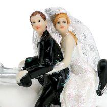 Wedding figure bridal couple on motorcycle 9 cm
