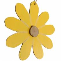Wooden flowers to hang, spring decoration, wooden flowers yellow and white, summer flowers 8pcs