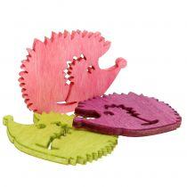 Hedgehog figurines wood decoration mix multicolored 4cm 72pcs
