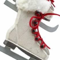 Wooden ice skate white for hanging 8cm 3pcs