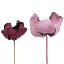 Wooden flower, palm cup mix pink-heather 25pcs
