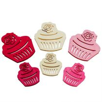 Wooden cupcakes table decoration pastel colors muffins birthday decoration 24pcs
