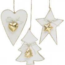 Christmas pendant heart / fir / star, wood decoration, tree decoration with bells white, golden H14.5 / 14 / 15.5cm 3pcs
