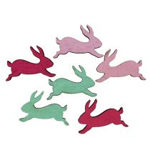 Wooden bunny assorted as scattered decoration 5cm 24pcs