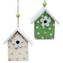 Decorative bird house to hang 8cm 6pcs