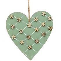 Wooden heart to hang green / natural 10cm 4pcs