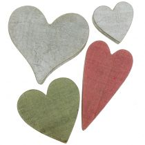Wooden hearts gray / red / green 3-6.5cm 8pcs