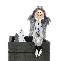 Wooden box with angel 8cm x 8cm gray, white 2pcs