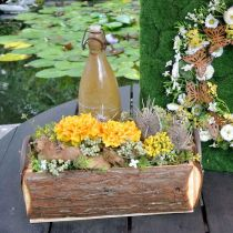Wooden box for planting, plant pot with handles, flower box with bark 45.5cm