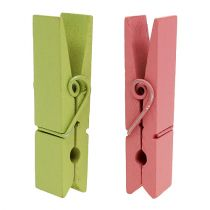 Wooden clips colored 7.2cm 48pcs