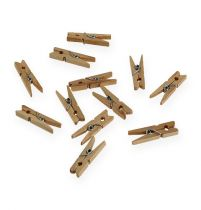 Decorative wooden clips 3cm nature 72pcs