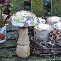 Wooden mushroom decoration autumn leaves white, colorful mushroom table decoration Ø10cm H15cm
