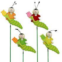 Wooden caterpillar on the rod 8cm assorted. 24pcs