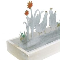 Wooden tray with decorative plug spring meadow 43cm