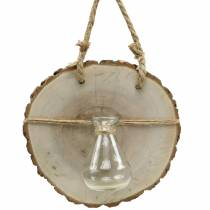 Wooden disc with glass vase for hanging Ø22cm