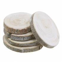 Wooden discs round whitewashed Ø3-4.5cm 400g in a net