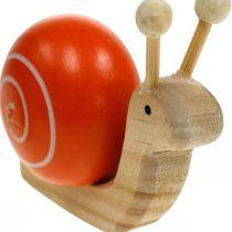 Wooden snails for decorating, spring, garden snail green-orange, table decoration 6pcs